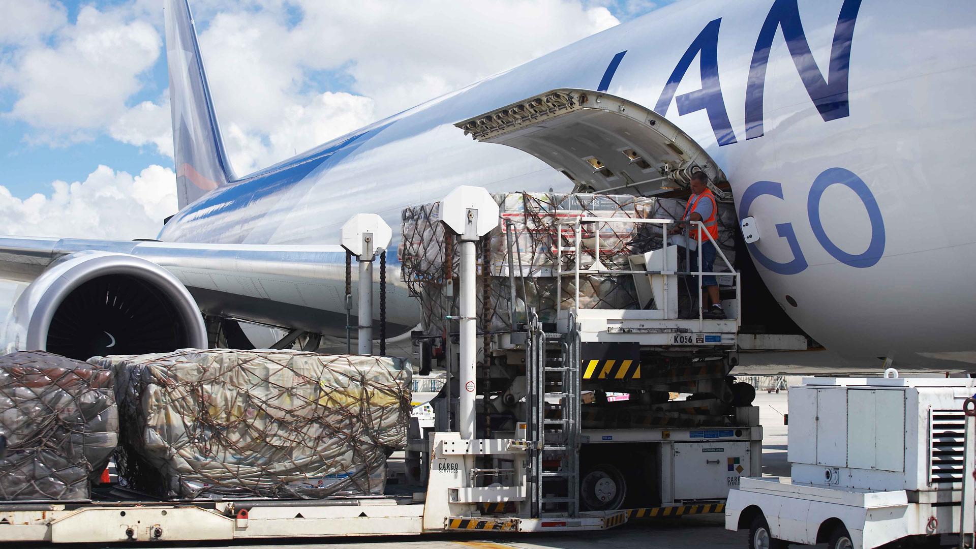 Air Cargo aircraft being loaded with freight