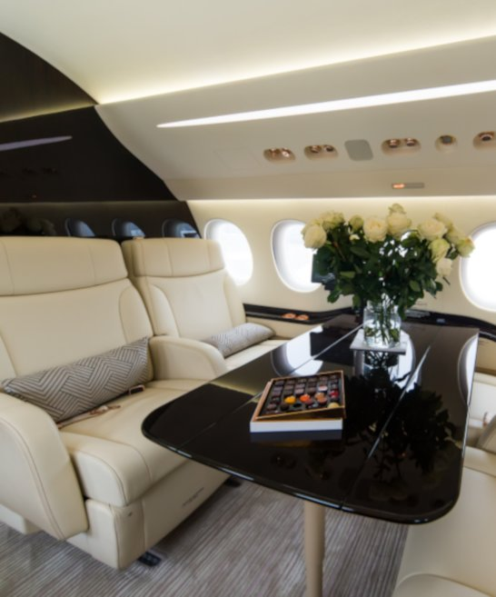 interior of a private air charter aircraft