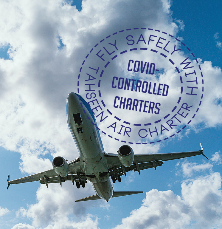 Fly safely with tahseen air charter - covid-controlled charters - mobile - cover